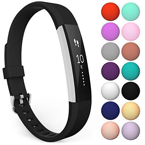 Yousave Accessories® Armband kompatibel für Fitbit Alta und Alta HR, Ersatzarmband – Silikon Wristband Zubehör für Alta und Alta HR – Erhältlich in 11 (Klein, Schwarz)