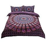 Sticker superb Bohemia Hippie Animal Elefante Negro Púrpura Funda de Edredón con Funda de Almohada, Boho Mandala Indio Flor Azul Juego de Cama 150CM 220x240cm 3 Piezas (Púrpura)