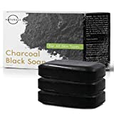 O Naturals Activated Charcoal Black Bar Soap Peppermint Oil Detoxifying Face Body Hand Soap Organic Shea Butter. Vegan 100% Natural Soap Treats Acne Blemishes Men & Women Triple Milled 3Pk 12 oz Total