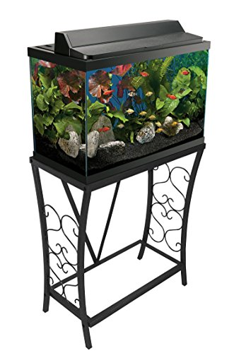 Aquatic Fundamentals 20 Gallon Metal Scroll Aquarium Stand-Black