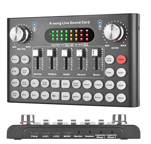 REMALL Bluetooth Live Sound Card Voice Changer, Audio DJ Mixer, Multiple Sound Effects Audio Box for Mobile Phone Computer Game iPad Live Streaming Karaoke Broadcast Recording (V10 Black)