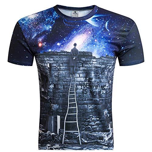NOBRAND Camiseta casual para hombres y mujeres con impresión digital de cuello redondo de manga corta 3D suelta camiseta