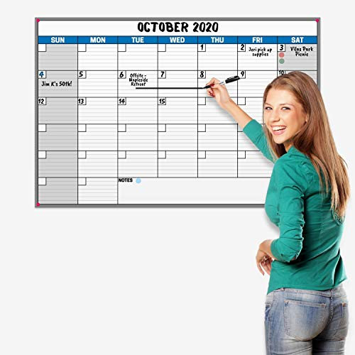 Dunwell 24x36 Erasable Undated Monthly Weekly Planner (Blue), Includes 2020 Horizontal Vertical Reversible Large Calendar, Laminated Dry Wet Erase Poster Calendars