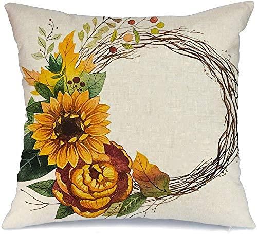 Throw Pillow Cover Funda de cojín, Elemento de Guirnalda de follaje otoñal Hojas Flores Dibujadas Decoración de Acuarela Hermosa Planta Objetos de la Naturaleza Funda de Almohada
