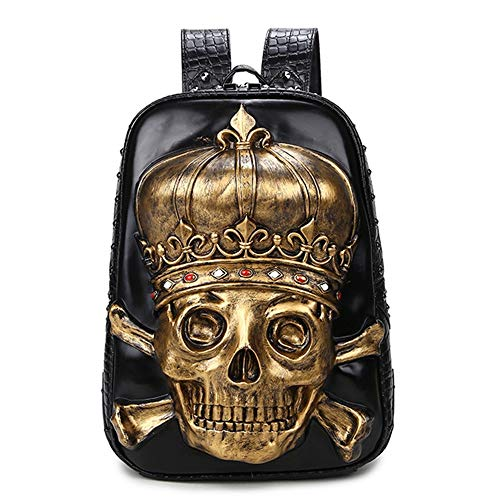 Zzyff / Plata/Oro De La PU Bolso De Hombro Negro 3D Silicona Personalidad Cabeza del Cráneo del Bolso del Ordenador De Viaje Impermeable Al Aire Libre Mochila Hombre 30 * 12 * 42 (cm)