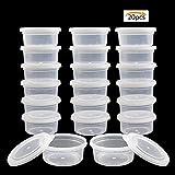 Simuer Slime Storage Containers, 20 Pack Slime Aufbewahrungsbehälter Aufbewahrungsbox mit deckel, durchsichtigen Kunststoff-Speicher für Perlen Schaum Schleim Kristall Schleim Flaumig,...