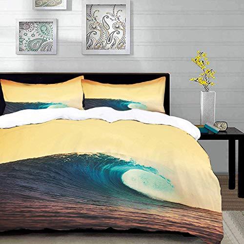 ropa de cama - Juego de funda nórdica, Ocean Sunset, Ocean Breaking Wave en colores cálidos Sea Coast Surf Summer Picture Art, Verde, Juego de funda nórdica de microfibra con 2 fundas de almohada 50 X