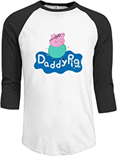 Men Peppa Pig - Daddy Pig's Best Bits Vintage Plain Raglan T Shirt 3/4 Sleeve