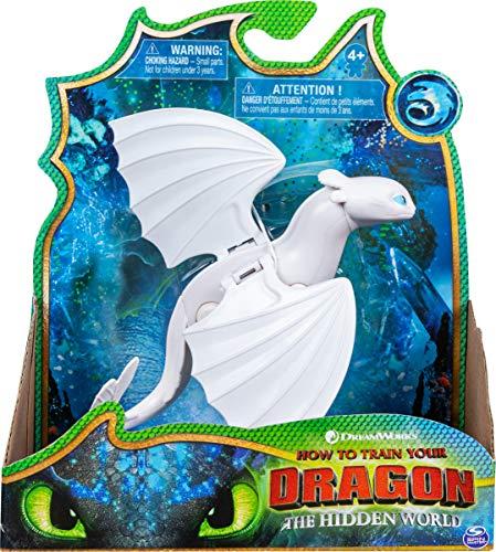 Dreamworks Dragons Spinmaster – 6045118 Drachenzähmen leicht gemacht 3: Die geheime Welt – Lightfury – Drachen Figur
