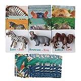 Percilun Animales Realistas, Juguete Montessori, Tarjetas Educativas, Emparejamientos Pedagógico, Regalo Niño o Niña 1, 2, 3, 4 Años, Figuras de Animales Salvajes.