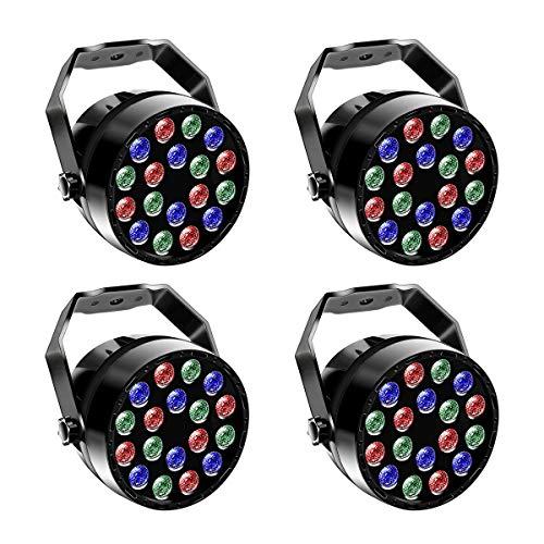4 Pcs Par LED,UKing 18 LED RGB Luces Discoteca,7CH Canal Focos para Fiestas con Automático, de Voz, Estroboscópico de control Modos para Discotecas y Fiestas