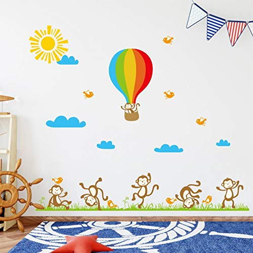 JJZS Mural Monkey Hot Air Balloon Wall Stickers For Kids Children'S Room Background Decoration Nursery Mural Wallpaper,A