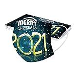 IsMoon 10/50 Stück Einweg Mundschutz 2021 Happy New Year Mund und Nasenschutz Erwachsene_Mundbedeckung Atmungsaktive 3-Lagig Bandanas Multifunktional Halstuch für Damen Herren