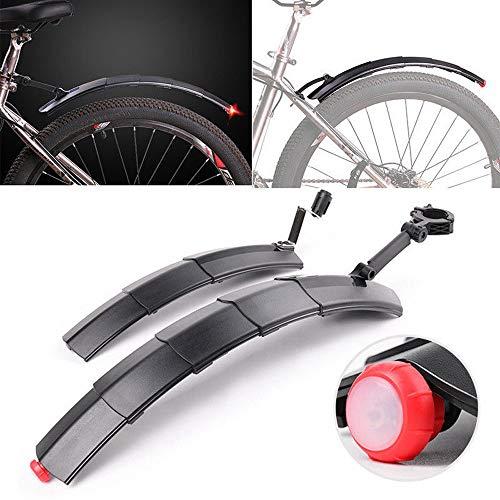 FENSIN Mountainbike Schutzbleche Set - Einziehbare Vordere Hintere Kotflügel mit Rücklicht,Fahrrad Spritzschutz, Kotflügel Fahrrad, Fahrrad Schmutzfänger (grau)