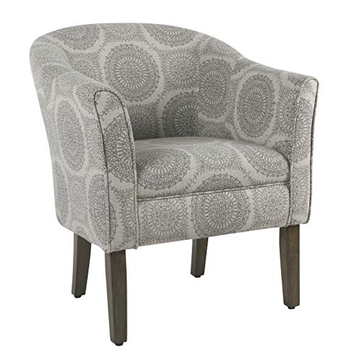 HomePop by Kinfine Fabric Upholstered Chair - Barrel Shaped Accent Chair, Grey Medallion