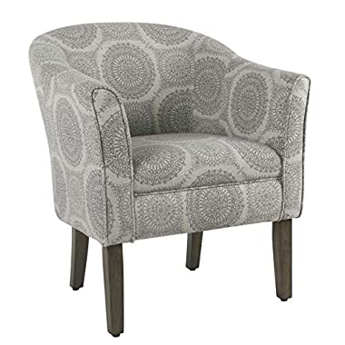 HomePop by Kinfine Fabric Upholstered Chair – Barrel Shaped Accent Chair, Grey Medallion