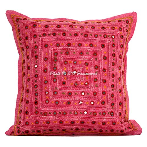 DK Homewares Étnico Fundas De Cojines para Sofa Modernos Decorativo Rosado Cojin Hippie 16 x 16 Bohemio Espejo Bordado Cordón Algodón | 1 Piece (40 x 40 cm)