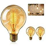 Gohytal Bombilla Edison E27 Vintage, Retro Edison Lámpara Ambar Cálido Bombillas, 4 W, Lampara Decorativa Edison G80 Bulbo, Ideal para Nostalgia y Iluminación Retro en Casa, Cafetería, Bar, 2 Piezas