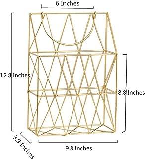 GRIDYMEN Magazine Rack with Handle, Letter Rack Newspaper Holder File Oragnizer Wall Mounted Decorative Storage Basket, Metal Organiser for Office Living Room Bedroom, Gold