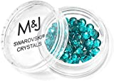 M&J Trimming - Swarovski Crystal Hotfix Rhinestones - Heat Set Xirius Crystals w/Adhesive Backing - for Clothes, Fabric, Jewelry and More - Rose Round - SS16 (4mm) - 60 Pieces - Blue Zircon