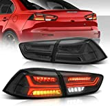 MOSTPLUS Updated Smoked LED Tail lights Rear Lamp Compatible for Mitsubishi Lancer EVO 2008-2018 w/Amber Seqential Light (Smoked Tinted)