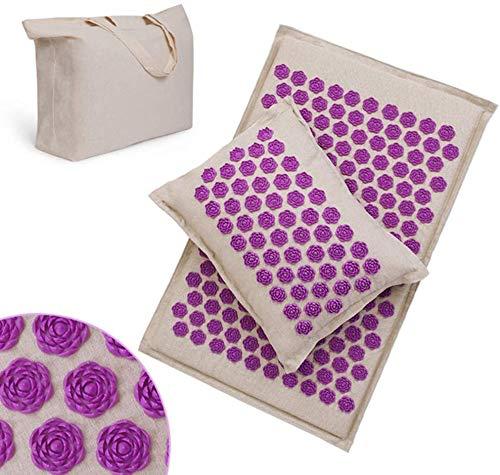 WXCC Acupressure Mat Massage Pillow Set Cotton Linen Acupuncture mat Bag Neck Back Pain Relief Best Deep Sleep,Purple