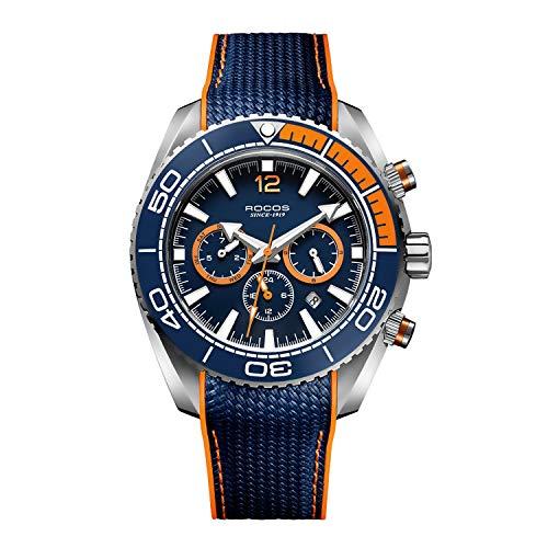 ROCOS Reloj Automático para Hombre Relojes Mecánicos con Cristal de Zafiro Relojes de Pulsera Automático Multiesfera Deportivo Ø42 mm R0149