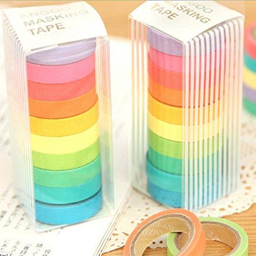 Bilila 10x Washi Sticky Paper Masking Adhesive Decorative Tape Scrapbooking