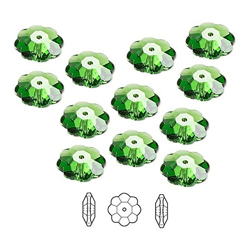 Swarovski Crystal Beads Faceted Marguerite Flower 3700 Fern Green 6x2mm Package of 12
