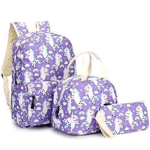 Mochila escolar para niñas, mochila escolar con bolsa isotérmica, estuche para adolescentes