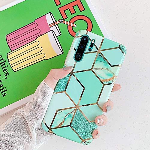 Herbests Kompatibel mit Huawei P30 Pro Handyhülle Marmor Matt Marble Muster Schutzhülle Dünn Handytasche Glitzer Glänzend Ultradünn Transparent Durchsichtige Silikon Hülle Case,Grün