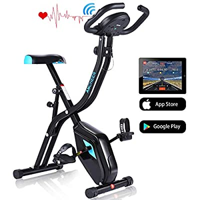 ANCHEER APP Control Folding Exercise Bike, Indoor Stationary Bike with 10-Level Adjustable Magnetic Resistance & Comfortable Seat for Home Gym Cardio Fitness