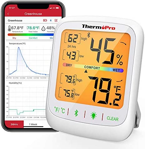 ThermoPro TP59 Wireless Thermometer Hygrometer Bluetooth Indoor Room Thermometer Temperature product image