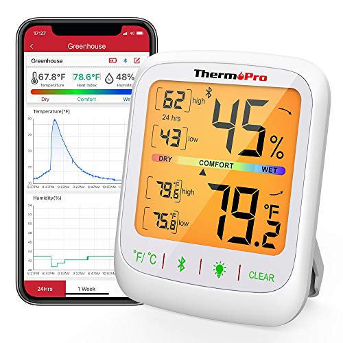 ThermoPro TP59 Wireless Thermometer Hygrometer Bluetooth Indoor Room Thermometer Temperature and Humidity Gauge Monitor