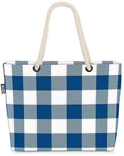 VOID Plaid Weiss Blau Karos Strandtasche Shopper 58x38x16cm 23L XXL Einkaufstasche Tasche Reisetasche Beach Bag