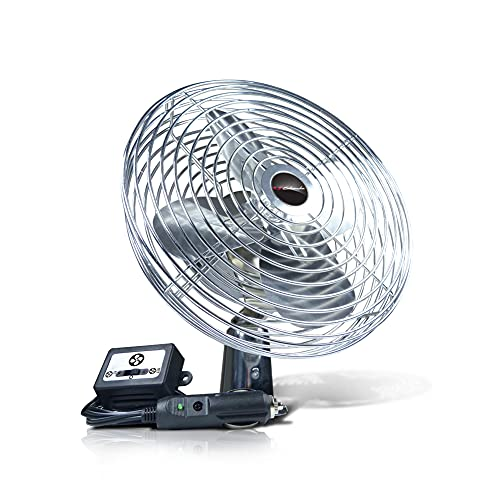 Schumacher Chrome Fan 12V for Cars, Trucks, Buses, RVs, and Boats