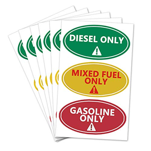 Diesel Only Mixed Fuel Only Gasoline Only Stickers,Self Adhesive Oval Waterproof Oil Standards Decal Stickers,4X2 Inch,36 Pcs Per Pack.