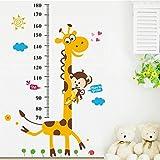 GenialES Medidor de Crecimiento Infantil Vinilo Pegatina Decorativa Adhesivo de Pared Dormitorio Sala Armario Dibujo Girafa Mono