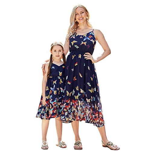 PopReal Mommy and Me Dresses Vintage Butterfly Floral Printed Spaghetti Straps V-Neck Beach Cami Dress Navy Blue