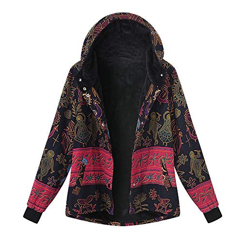 OverDose Damen Winterjacke Windbreaker Wärmemantel Plus Size Damen Kapuzen Causal Slim Soft Langarm Vintage Damen Fleece Dick Coats Zipper Coat(Mehrfarbig,54 DE / 5XL CN )