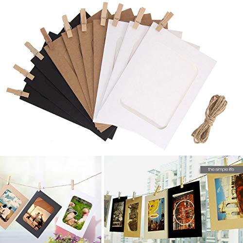 axuanyasi DIY papier fotolijst muur Deco met Mini wasknijpers en String Past 4