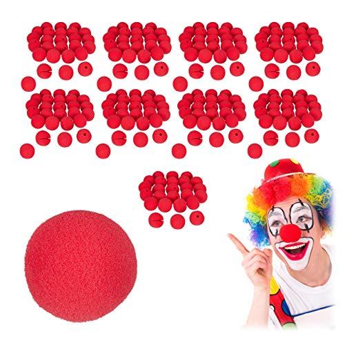 Relaxdays 250 x Clownsnasen im Set, Kinder & Erwachsene, Schaumstoff, Fasching, Karneval, Halloween, Kostüm Clown Nase, rot