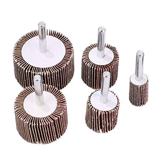 Cabilock 10 unidades de ruedas plegables montadas para persiana lijadora de papel de pulido herramienta giratoria con mango para eliminar las rebabas de óxido