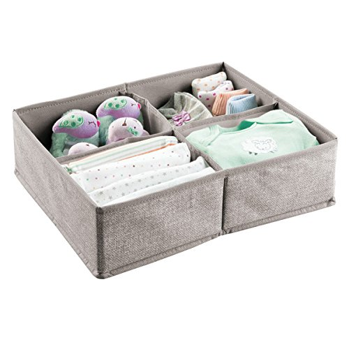 mDesign Organizer fasciatoio - Scatola portaoggetti grande a 4 sezioni - Per salviettine umidificate, bavaglini, asciugamani, ecc - ideale come contenitore giocattoli - grigio