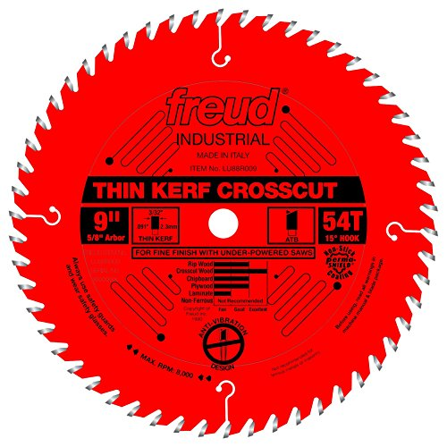 "Freud 9"" x 54T Thin Kerf Fine Finish Crosscut Blade (LU88R009)"