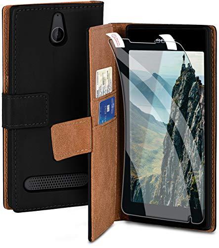 moex Handyhülle für Sony Xperia E1 - Hülle mit Kartenfach, Geldfach & Ständer, Klapphülle, PU Leder Book Hülle & Schutzfolie - Schwarz