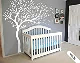 Large White tree decal Nursery Tree wall decal Stickers Huge Wall Decals Wall Art Tattoo Wall Mural Decor -...