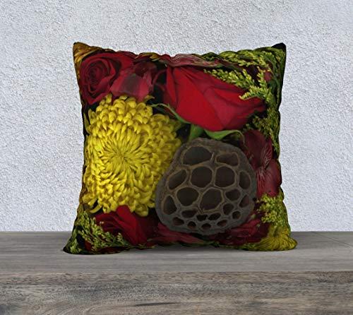 DKISEE Funda de almohada cuadrada de lino y algodón de 40,6 cm, suave funda de cojín con diseño floral brillante