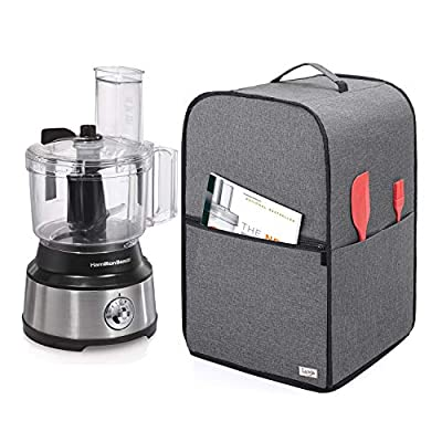 Luxja Food Processor Cover for Cuisinart and Hamilton Beach 10-14 Cup Processor, Food Processor Dust Cover with Accessories Pockets, Gray