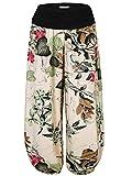 Baishenggt - Pantalones bombachos largos para mujer, pantalones de harem, diseño floral flores de albaricoque. L